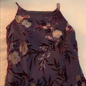 Dark purple with light flowers print dress